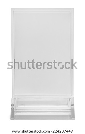 Table Top Upright Plastic Menu Sign Isolated on White Background.