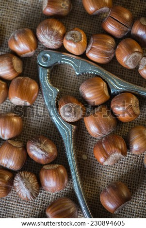 table top view on hazelnuts and nut cracker - stock photo