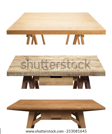 Table tops isolated on white background - stock photo
