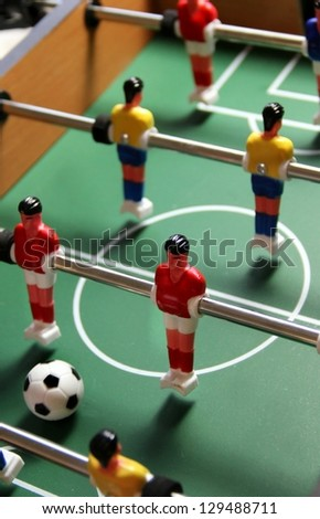 Table toy football with field, players and ball - stock photo