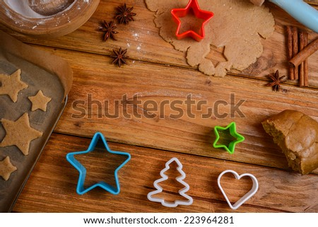 Table view on making christmas cookies - stock photo