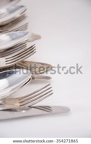 Table Ware Knife Fork and Spoon Isolated on White Background