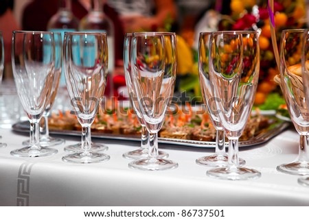 Table wine glasses for wine - stock photo