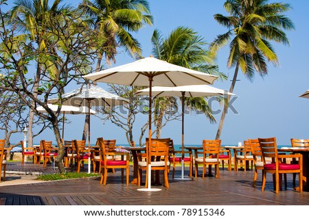 Table with a beautiful sea view - stock photo