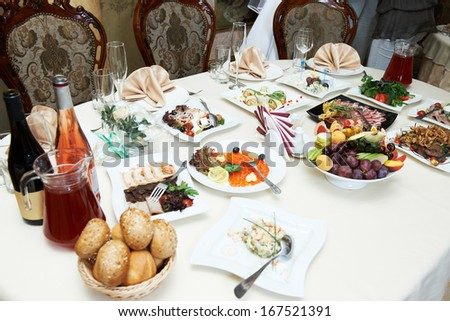Table with appetizers in restaurant