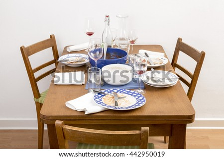 Table with chairs and dirty dishes arranged on it - stock photo