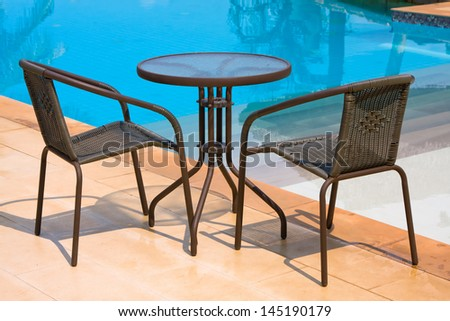 Table with chairs standing against the swimming pool - stock photo