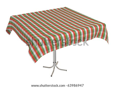 Table with cloth, clipping path included, 3d illustration, isolated on white - stock photo