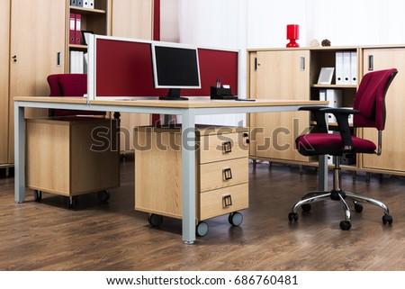table with computer in a modern office