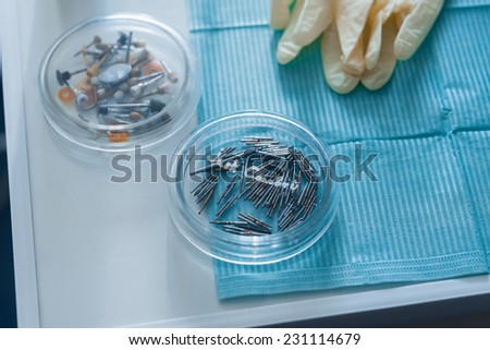 table with dental tools - stock photo