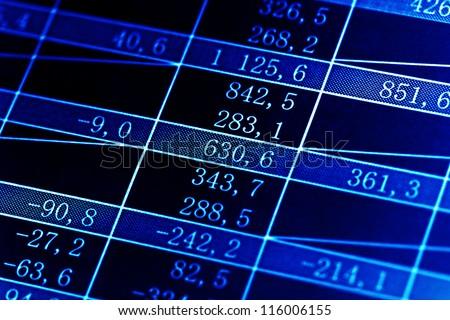 Table with finance data. Macro image. - stock photo