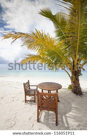 table with two chairs under a palm at the beach; sea with cloudy sky