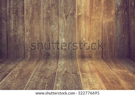 table wooden display of product, old brown wood plank texture background - stock photo