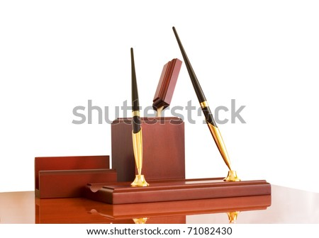 table wooden stationery set, a white background, isolated - stock photo