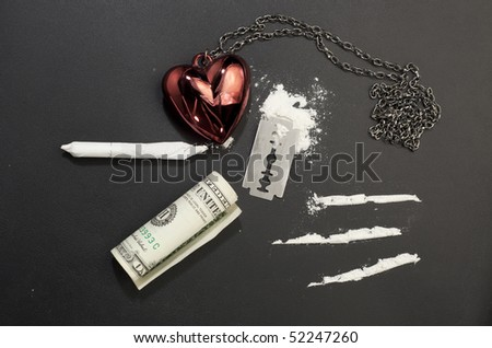 Tableau of drugs :cocaine, razor, cocaine lines, one dollar, joint, heart - stock photo