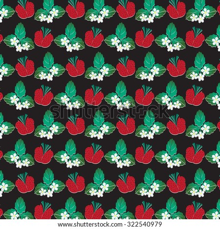 stock photo tablecloth pattern with strawberries leaves and flowers on black background 322540979 - Каталог — Фотообои «Еда, фрукты, для кухни»