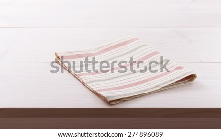 Tablecloth textile on white wooden table