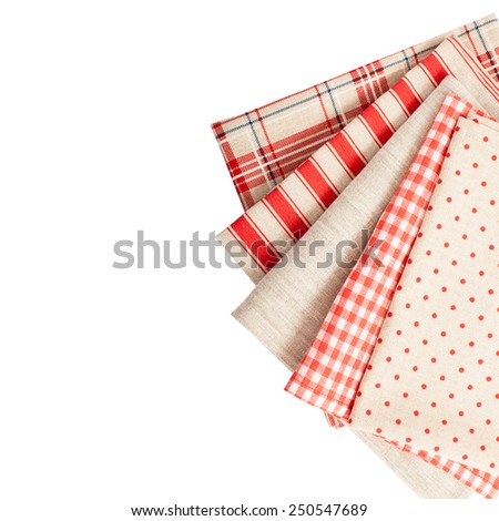 Tablecloths set in isolation, square. Top view.  - stock photo