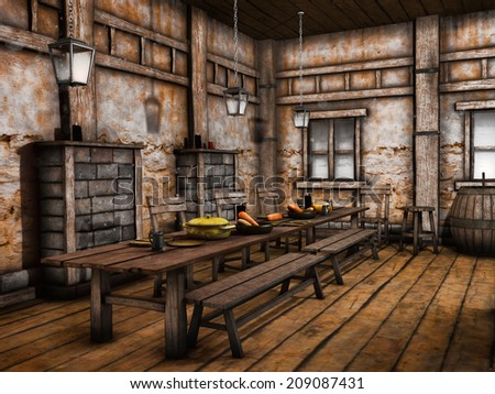 Tables and benches in an old wooden tavern
