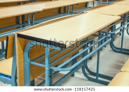 tables and chairs in the classroom