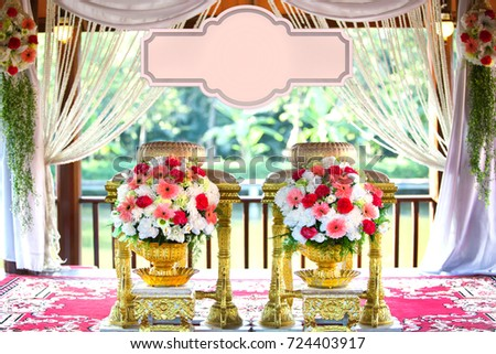 Tables And Chairs Of Bride And Groom For Bless Water Thai Wedding Ceremony