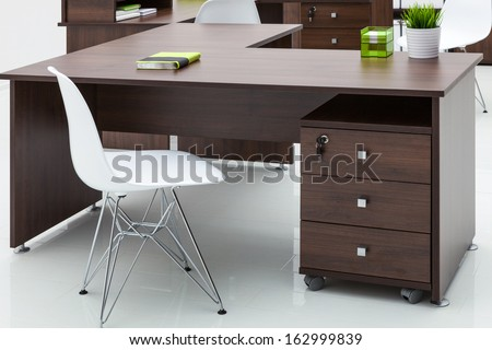 tables and chairs with reflection on white background - stock photo