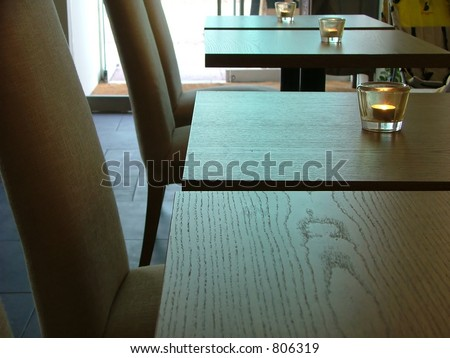 tables at the cafeteria - stock photo
