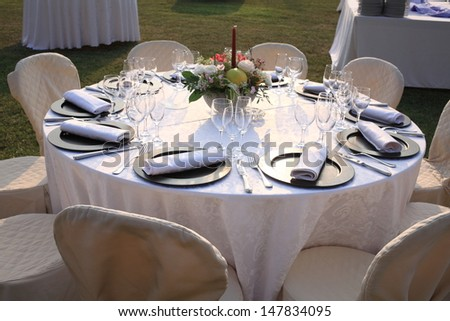 tables for events and weddings wedding buffet - stock photo
