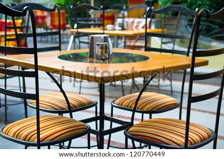 Tables in cafe. - stock photo