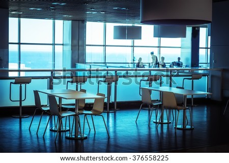 Tables in the public dining-room - stock photo