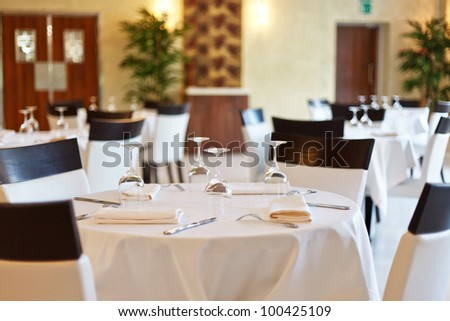 Tables set for meal - stock photo