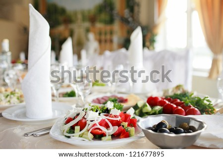 tables set for wedding - stock photo