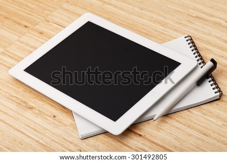 Tablet, analysis, business. - stock photo