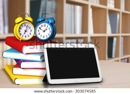 Tablet and Books, Book, Homework. - stock photo