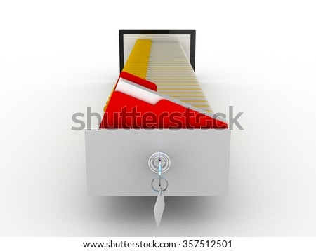 Tablet and colorful archive folders into the screen, 3D - stock photo