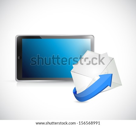 tablet and email. contact us on the go concept illustration design - stock photo