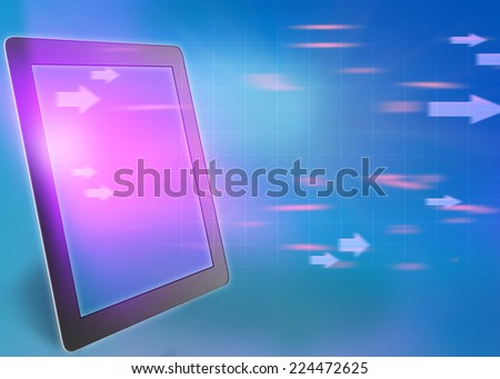 tablet and flying arrow with its screen - stock photo