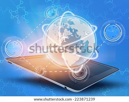 tablet and globe with pie chart combine in network - stock photo