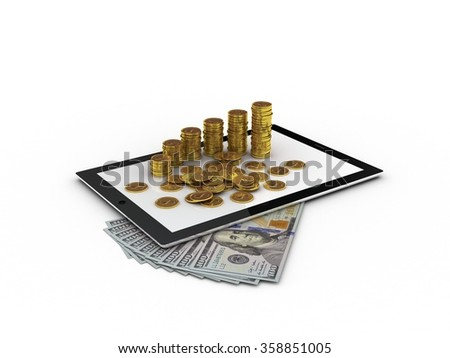 Tablet and gold money - stock photo