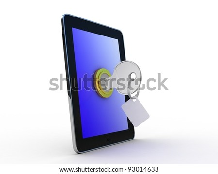 Tablet and key on white background. Isolated 3D image - stock photo