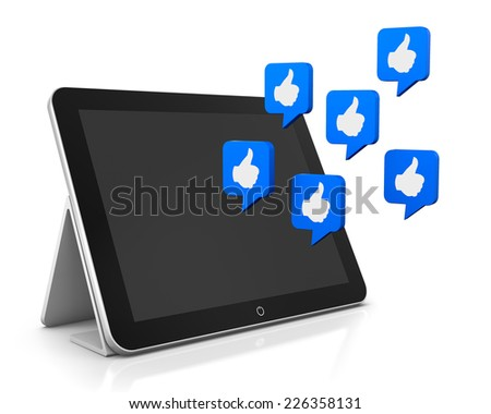 tablet and like 3d render - stock photo