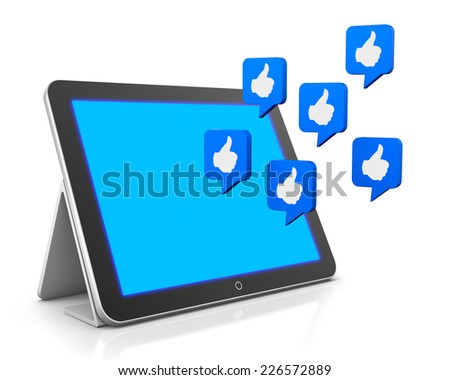 tablet and like 3d render facebook twitter social media - stock photo