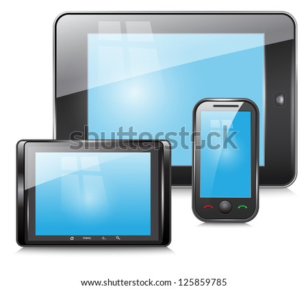 tablet and mobile phone on a white background