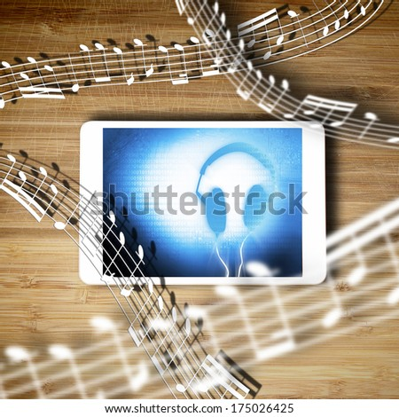 Tablet and notes splashing out of it - stock photo