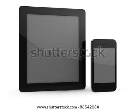 Tablet and phone on white background - stock photo
