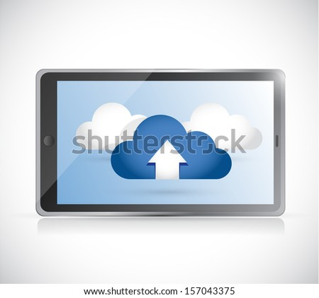 tablet and set of clouds. illustration design over white - stock photo