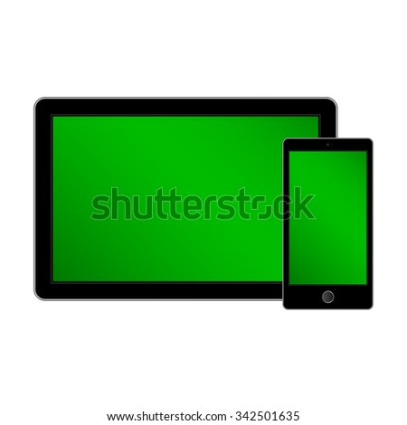 Tablet and smartphone. Isolated on the white background. Color screen. illustration - stock photo