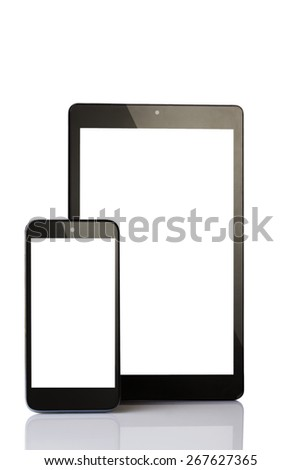 tablet and smartphone isolated on white - stock photo
