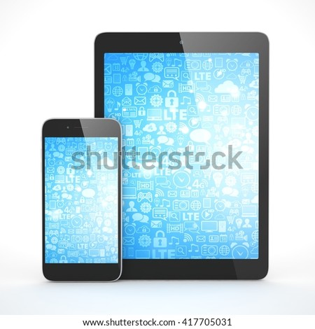 Tablet and smartphone on a white. 3d rendering. - stock photo