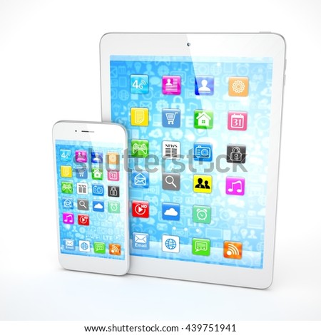 Tablet and smartphone on a white. 3d rendering.